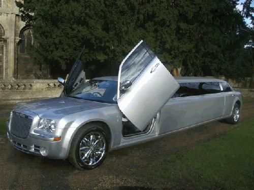 Chauffeur stretch Chrysler C300 limo with Lamborghini doors in East of England, Peterborough, Huntingdon, Stanford, King's Lynn, Norwich, Great Yarmouth, Lowestoft, Wisbech, Spalding, Cambridge, Cambridgeshire, Bedford, Bedfordshire, Newmarket, Bury St Edmunds, Suffolk, Norfolk, Lincolnshire, Northampton, Northamptonshire, Kettering, Leicester and Sudbury.