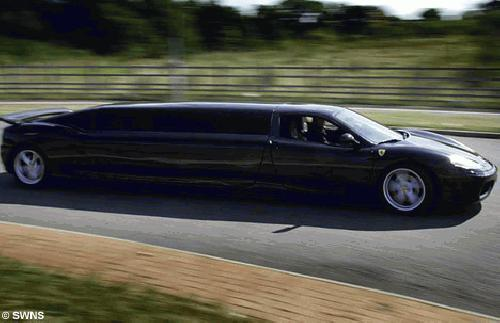 Chauffer stretched black Ferrari F1 360 limo hire in the UK. The worlds fastest limousine!
