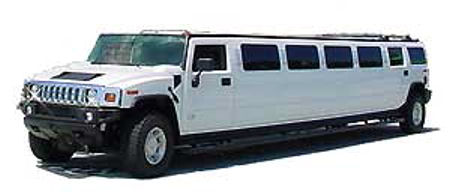 Chauffeur stretch white Hummer H2 limo hire in London