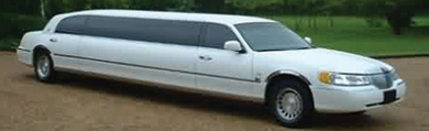 Chauffeur stretch white Lincoln limo hire in UK